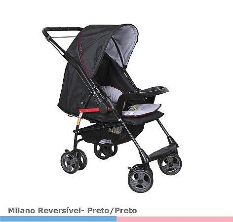 Carrinho de Bebê Milano Reversivel PRETO 1016PPR Galzerano