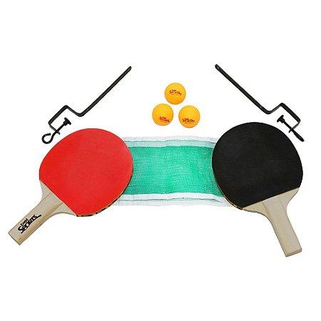 Kit Tênis de Mesa 2 Raquetes + Suporte + Rede + 3 Bolinhas n°40 Belfix