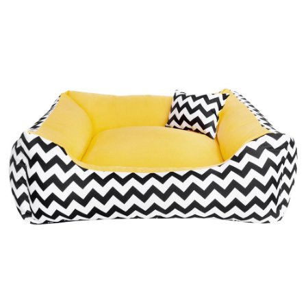 Cama de cachorro 60 x 60 Chevron Amarelo