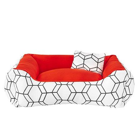 Cama de cachorro 60 x 60 Geométrica Vermelho