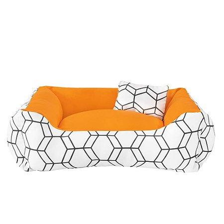 Cama de cachorro 60 x 60 Geométrica Laranja