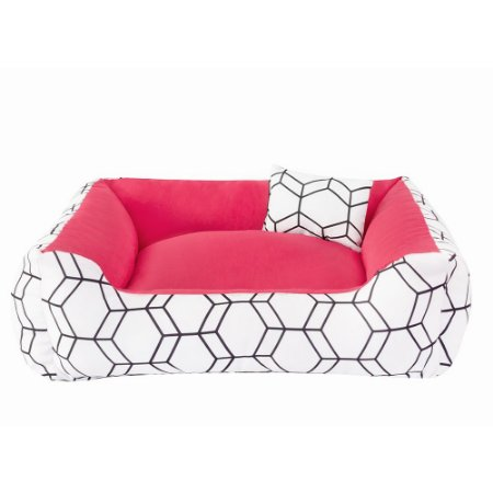 Cama de cachorro 60 x 60 Geométrica Rosa
