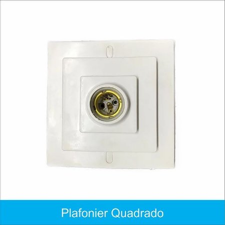 Plafon Decorativo Quadrado C/ Soquete 16,5x16,5cm Trioplast