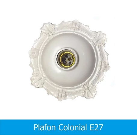 Plafon Decorativo Colonial C/ Soquete 21x21cm Trioplast