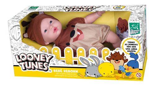 Boneca Infantil Reborn Looney Tunes Taz Mania 430 Super Toys