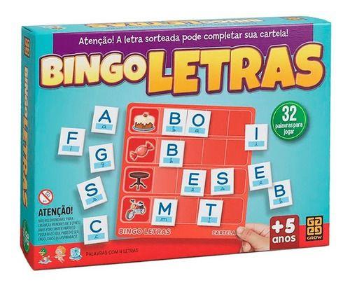 Jogo Bingo Letras 32 Palavras Divertido Para Família Grow
