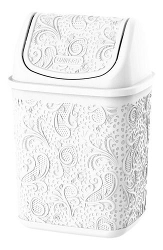 Cesto De Lixo Para Pia Floral Branco P 4,5 Litros Uninjet