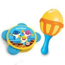 Instrumento Musical Infantil Maraca e Pandeiro Baby Shark