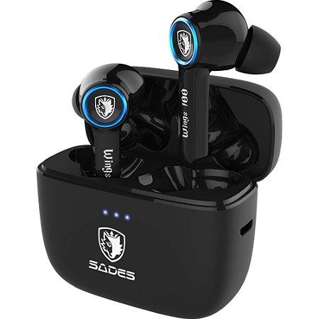 Fone De Ouvido In-ear Gamer Sem Fio Sades Wings 100 Tws Bluetooth Preto