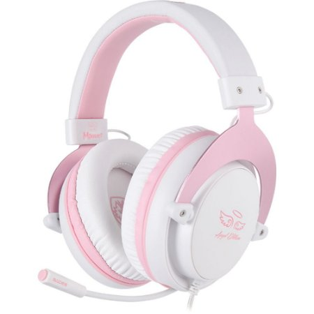Fone Headset Gamer PS4 VR Xbox One Sades Mpower Rosa Angel Edition