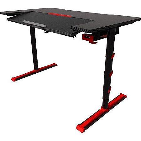 Mesa Gamer Sades Alpha em Aço e FIbra de Carbono, altura ajustável, angulo do teclado ajustável e LED preto com detalhes vermelho