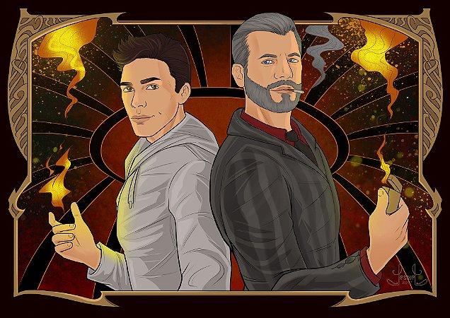 Ilustração Alex e Abel + marcador de página