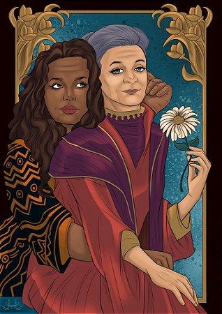Ilustração Carmem e Elizabeth + marcador de página