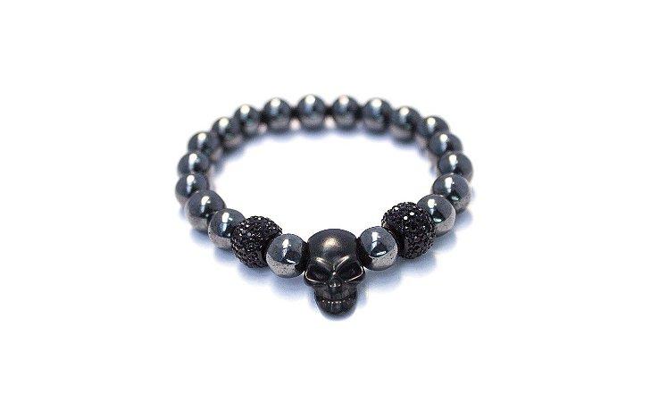 Pulseira de pedra hematita com cristal e caveira black