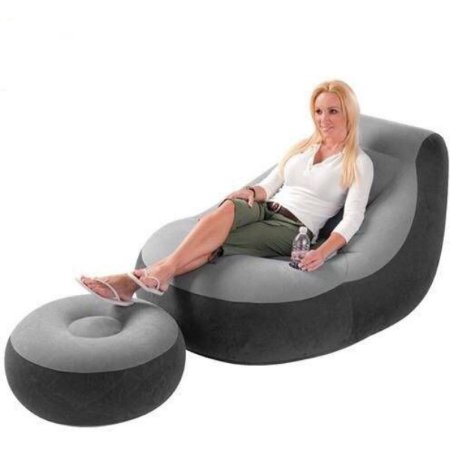 Poltrona Inflável Ultra Lounge com Pufe Intex Cinza e Preto