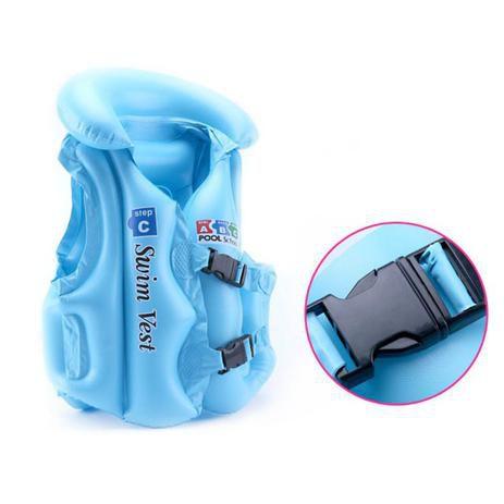 Colete Infantil Inflável Swin Vest Azul Tamanho G 6 a 9 anos
