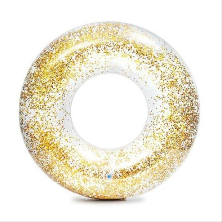 Boia Circular Transparente Lantejoula Dourada 90cm