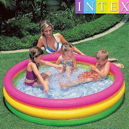 Piscina Inflável Infantil 3 Anéis Colorida 275 Litros Intex