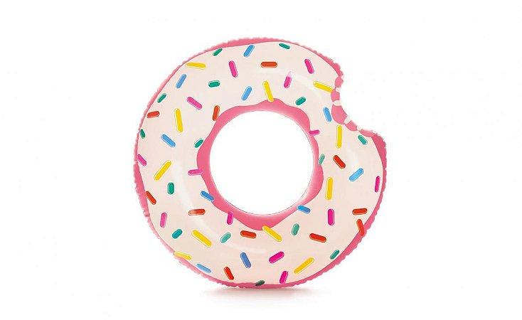 Boia Inflável Donut Tube Rosquinha Rosa Intex 107cm