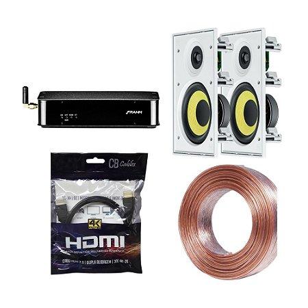 Kit RD HDMI Frahm + 2 Arandelas CI6R JBL + 20m Fio 2x1,5mm + Brinde