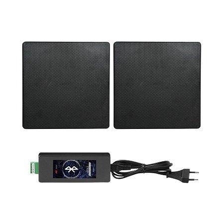 """Kit Invisível Bluetooth AAT - Amplificador BTA-1 V4.0 + 2 Arandelas 6,5"""" Quadradas NQ6-M100 100W Rms Pretas"""