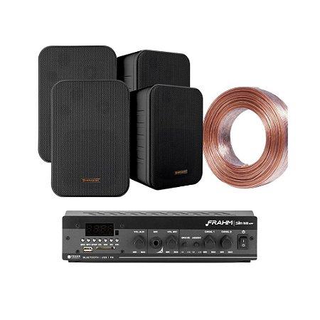 Kit Amplificador Frahm Slim 1600 APP + 04 Caixas Hayonik MSB60N Pretas + 30m Fio 2x1,5mm