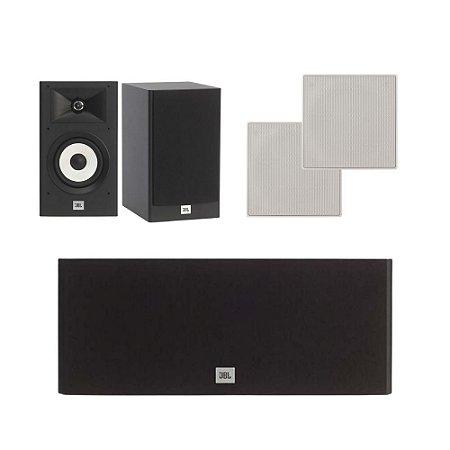 Kit de Caixas Acústicas 5.0 JBL Para Home Theater - 1 Stage A125C Central + 2 Stage A130 Bookshelfs + 2 Arandelas CI6S Quadradas