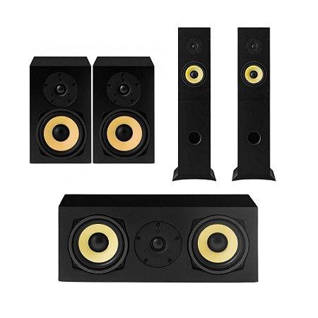 Kit 5.0 Caixas Acústicas AAT Para Home Theater - 01 Central C-140 + 02 Bookshelf BSF-70 + 02 Torres T-100