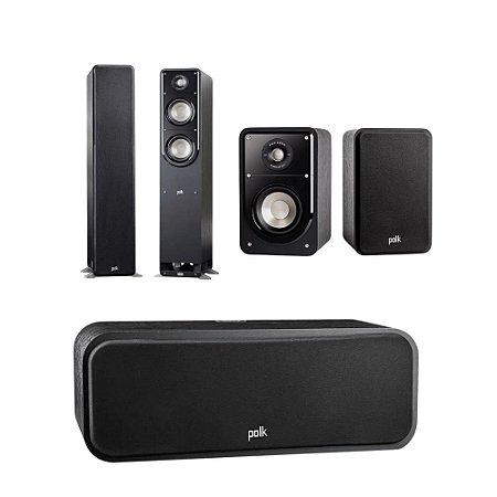 Kit 5.0 Caixas Acústicas Polk Audio Para Home Theater - 01 Central S30 + 02 Bookshelf S15 + 02 Torres S50