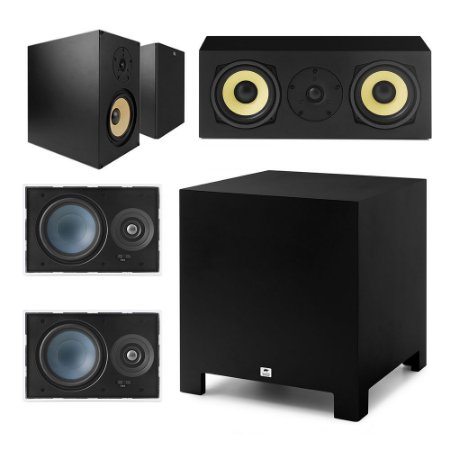 "Kit Home Theater 5.1 AAT - 2 Caixas Acústicas Rakt BSF-100 + 1 Rakt C-140 + 2 Arandelas LR-E100 + 1 Subwoofer Compact Cube 10"""