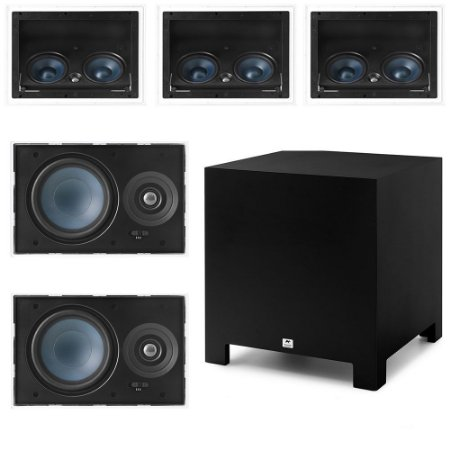 "Kit Home Theater 5.1 AAT - 3 Arandelas LCR-A100 + 2  LR-E100 + Subwoofer Ativo Cube Rakt 10"""