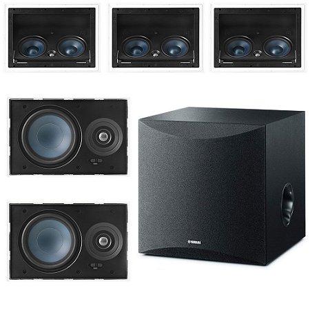 Kit Home Theater 5.1 - 3 Arandelas AAT LCR-A100 + 2 LR-E100 + 1 Subwoofer Yamaha Ns-Sw050