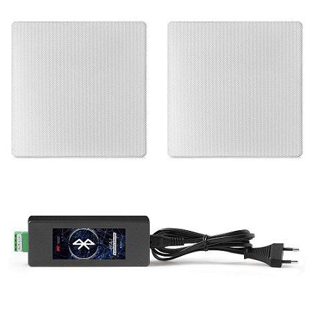 """Kit Invisível Bluetooth AAT - Amplificador BTA-1 V4.0 + 2 Arandelas 6,5"""" Quadradas NQ6-M100"""