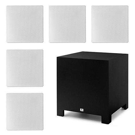 "Kit Home Theater 5.1 AAT - 3 Arandelas NQ6-A100 + 2 NQ6-M100 + 1 Subwoofer Compact Cube 10"""