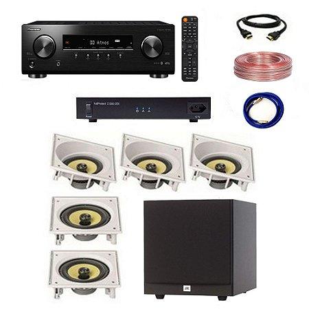 Kit Home Theater Completo 5.1 110V - Subwoofer JBL Stage A100P + Receiver Pioneer VSX-534 + C1000-SRX Engeblu + Arandelas JBL CI6SA CI6S + Cabos