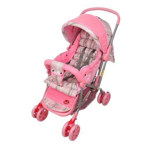 Carrinho De Bebê Alça Reversível Pop Rosa Dardara