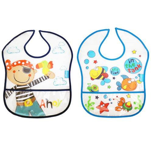 Kit Com 2 Babadores Impermeáveis Pirata E Fundo Do Mar C0150 - Clingo