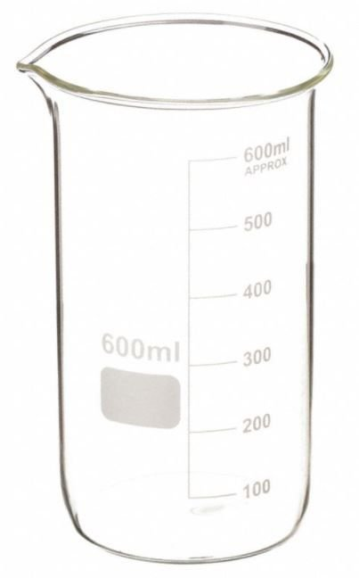 Becker de vidro borosilicato 3.3, graduado, forma alta(berzelius), capacidade: 600ml