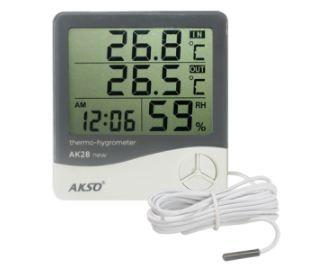 Termo-Higrômetro Digital com Sensor Externo e Relógio; Faixa de Medição: -10 à 50°C(interno), -50 à 70°C(Externo)  - AK28