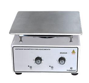 Agitador Magnético Analógico c/ Aquecimento; Capacidade: 10 Litros; RPM 0 à 3000; Temperatura 50°C à 300°C; 350W