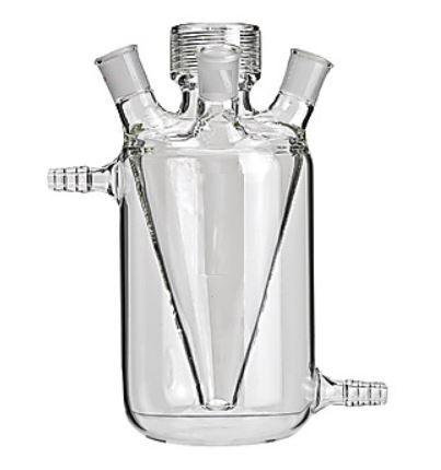 Reator ultrasônico encamisado de vidro borosilicato, 03 Bocas e 02 Saídas