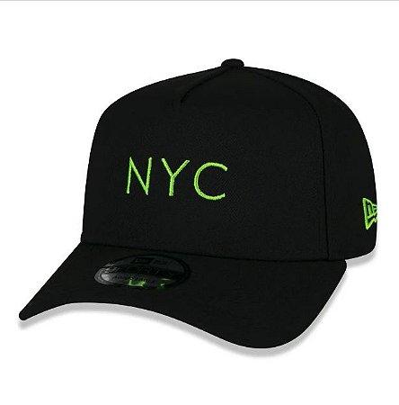 Boné New Era Simples Signature Fluor NYC New York City Preto e Verde