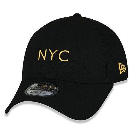 Boné New Era Aba Curva 920 Simple Fluor NYC - Preto e Laranja