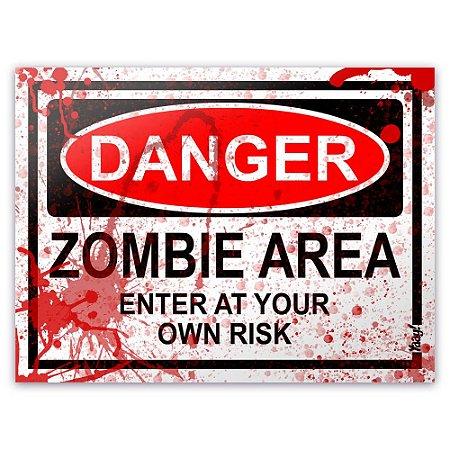 Placa - Danger Zombie Area - BLOOD EDITION