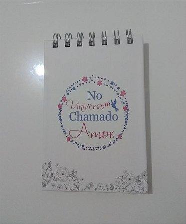 Bloco de anotações 100 paginas com calendário No Universo Chamado Amor