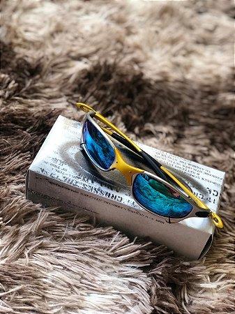 Óculos Oakley Juliet 24k Lente azul Bebe Frete Grátis