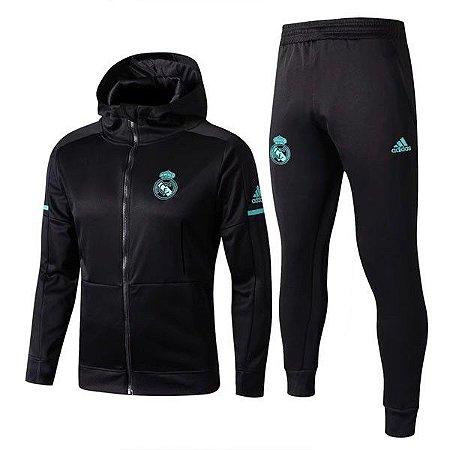 6ae1b21f774 Agasalho Real Madrid Preto Adidas Masculino 17 18 - Frete Grátis ...