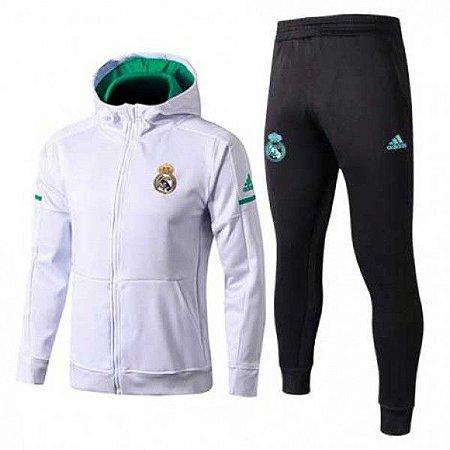 c3ab55590b7 Agasalho Real Madrid Branco Com Preto Adidas Masculino Frete Grátis ...