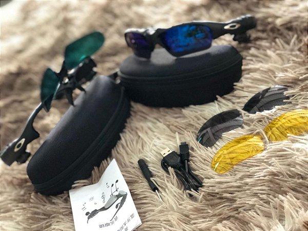 fc92b06ad90d9 Óculos Oakley Trump Azul Escuro Mp3 Bluetooth + 3 Lentes Frete Grátis