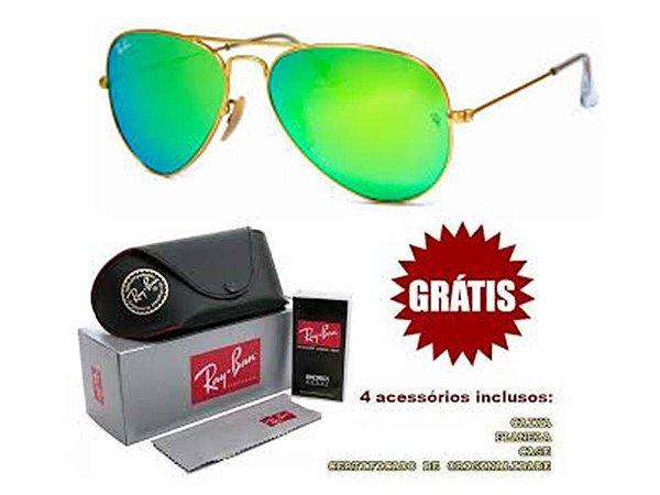Óculos Rayban Aviador lente Verde Espelhado Frete Grátis - Outlet ... 27d03cbe9f